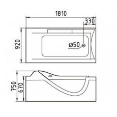 Акриловая ванна Gemy G9055 K R