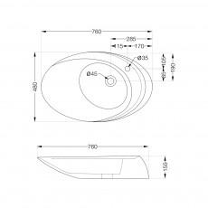 Накладная раковина Artize CFS-WHT-69931