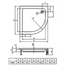 Акриловый душевой поддон Riho 210 90x90 белый 1/4 круга R550 + панель DA1900500000000