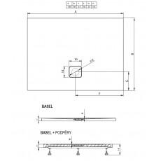 Акриловый душевой поддон Riho Basel 404 120x80 черный матовый, накладка хром DC141700000000S
