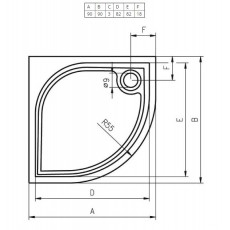 Душевой поддон из литьевого мрамора Riho Kolping DB14 90x90 R55 белый + сифон DB1400500000000