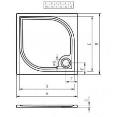 Душевой поддон из литьевого мрамора Riho Kolping DB32 100x90 белый + сифон DB3200500000000