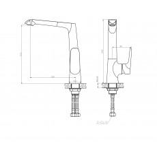 WW MX BONN 306 BL Хром-черный. Смеситель для кухни однорычажный. С поворотным изливом.