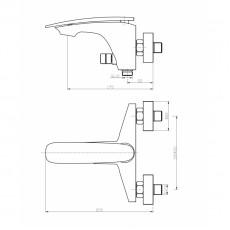 WW MX ESSEN 603 WT Хром-белый. Смеситель для ванны однорычажный. С изливом.
