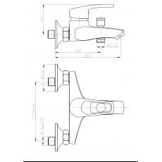 WW MX ISAR 503 Хром. Смеситель для ванны однорычажный. С изливом.