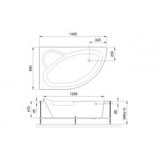 Акриловая ванна ALPINE RB819103 140x95x58L