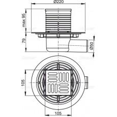 Cливной трап Alca Plast APV101 с боковой подводкой