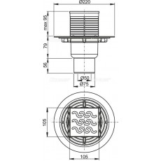 Cливной трап Alca Plast APV202 с прямой подводкой