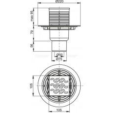 Cливной трап Alca Plast APV203 с прямой подводкой