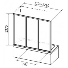 Шторка для ванн Ravak AVDP3-170 алюминевый профиль, пластик Rain 40VP0U0241