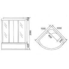 Душевая кабина NG-309-01N (1000х1000х2200) высокий поддон(48см) стекло МОЗАИКА