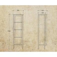 Витрина Migliore Bella ML.BLL-VE450NC с дверцей, орех