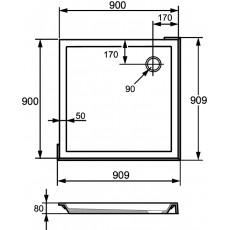 Душевой поддон Huppe Verano 235011.055 90x90 с формованной передней панелью