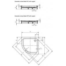 Поддон душевой Kaldewei Arrondo Mod 871-2 4601.3500.0001, 90*90 cм, R 550 мм