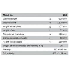 Поддон душевой Kaldewei Conoflat Mod 785-1 арт. 4655.3000.0001, 90*120*h3,5 cм
