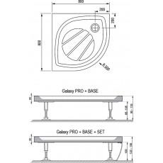 Поддон Ravak Galaxy Elipso Pro-80, арт. XA234401010, 80*80*3 см, R 500