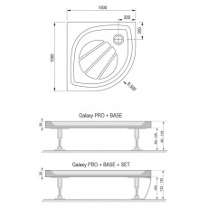Поддон Ravak Galaxy Elipso Pro-100, арт. XA23AA01010, 100*100*3 см, R 500