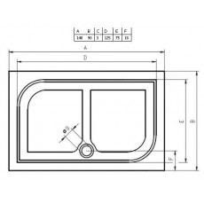 Душевой поддон из литьевого мрамора Riho Kolping DB36 140x90 белый + сифон DB3600500000000