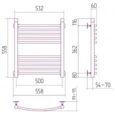 Полотенцесушитель водяной Сунержа Богема 600x500 мм, арт. 50106 (00-0101-6050)