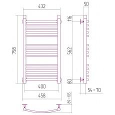 Полотенцесушитель водяной Сунержа Богема 800x400 мм, арт. 00-0101-8040
