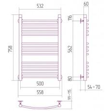 Полотенцесушитель водяной Сунержа Богема 800x500 мм, арт. 50107 (00-0101-8050)