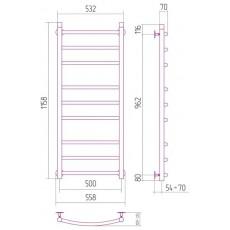 Полотенцесушитель водяной Сунержа Галант 1200x500 мм, арт. 00-0100-1250