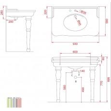 Раковина ArtCeram Hermitage EE14, 92*58 см
