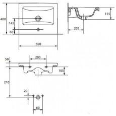 Раковина Cersanit Como 50, арт. 32002 (P-UM-COM50-1), 50*40*15,5 см