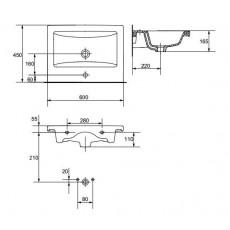 Раковина Cersanit Como 60, арт. 32003 (P-UM-COM60-1), 60*45*16,5 см