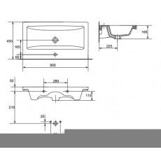 Раковина Cersanit Como 80, арт. 32004 (P-UM-COM80-1), 80*45*16,5 см