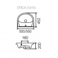 Раковина Cersanit Erica 55, арт. S-UM-ERI55-1-w