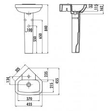 Раковина Creavit Corner VT145(VT145.253.00), подвесная, угловая