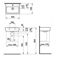 Мини-раковина Laufen Pro 8.1195.1.000.104.1 45*34 см