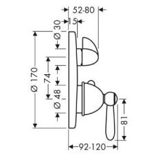 Смеситель AXOR Carlton 17720090 для душа термостатический внешняя часть хром/золото