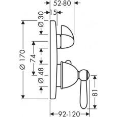 Смеситель AXOR Carlton 17700000 для душа термостатический внешняя часть