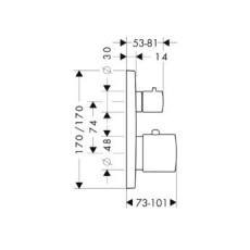 Смеситель AXOR Citterio M 34725000 для душа термостатический внешняя часть