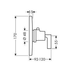 Смеситель AXOR Citterio 39711000 для душа термостатический внешняя часть