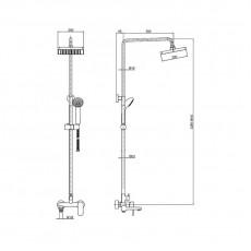 Душевая колонна Bravat Opal R для ванны, круглой формы, покрытие: пластик/хром