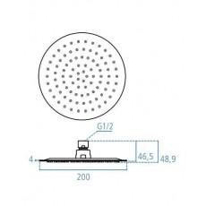 Верхний душ Ideal Standard IdeaRain LUXE B0383MY, d 200 мм