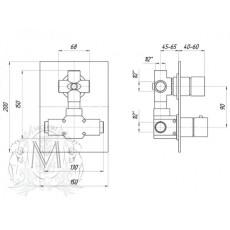 Смеситель 3-х позиционный Migliore Kvant ML.KVT-2779 для ванны и душа, скрытого монтажа , термостатический