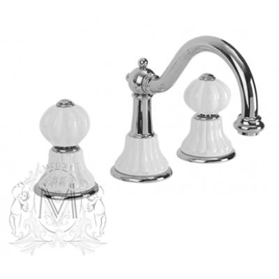 Cмеситель Migliore Olivia ML.OLV-5812BI.CR для раковины, хром, ручки белая керамика