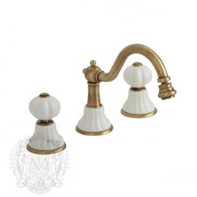 Cмеситель Migliore Olivia ML.OLV-5812BI.BR для раковины, бронза, ручки белая керамика