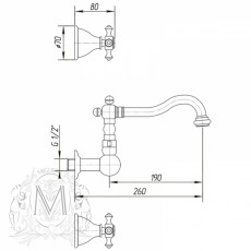 Cмеситель Migliore Prestige  ML.PRS-769BR для раковины - бронза
