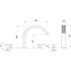 Cмеситель Migliore Syntesi ML.SNS-7980 для ванны/душа