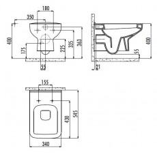 Унитаз Creavit Sphinx SP320(SP320.00000), подвесной, с функцией биде