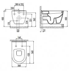 Унитаз Creavit TP TР328(TP328.00000), подвесной, с функцией биде