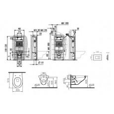 Комплект 4 в 1: Инсталляция + унитаз Vitra Arkitekt 9005B003-7211 с кнопкой хром