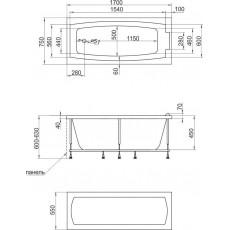 Ванна 1MarKa AELITA, прямоугольная, 170*75 см