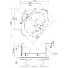 Ванна 1MarKa AFRODITA (MARYLIN), угловая, 140*140 см