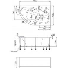 Ванна 1MarKa AURA (IMAGO), асимметричная, левая/правая, 160*105 см